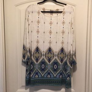 Chicos tunic with iKat and mosaic design.  NWOT